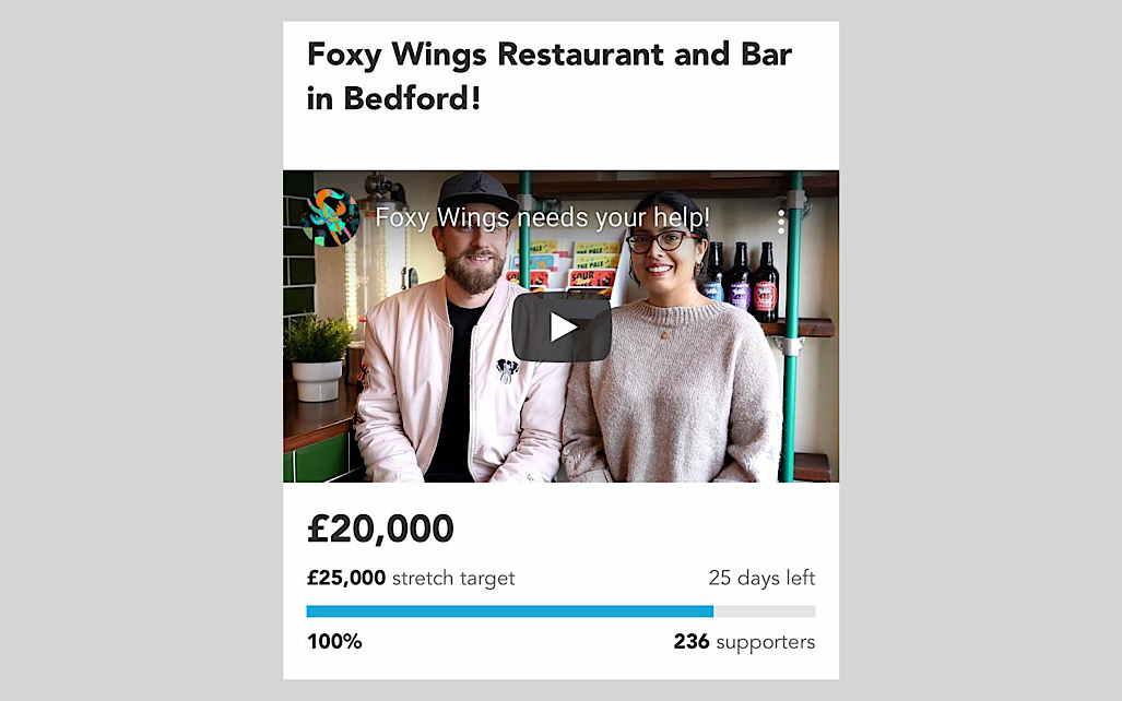 Foxy Wings reaching £20,000 target screenshot