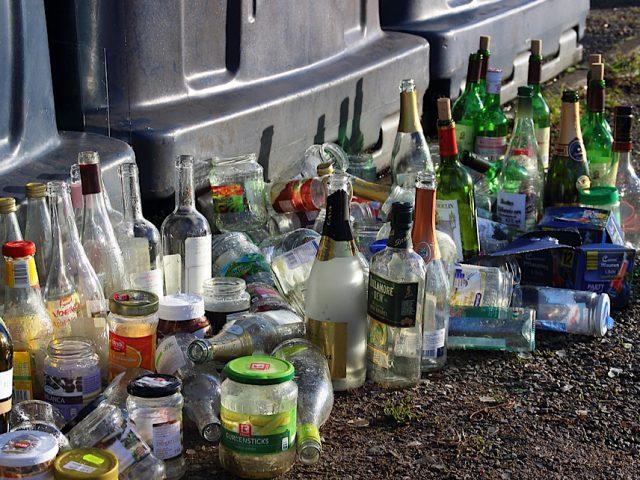 Bottle bank overflowing