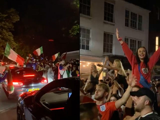 Italy and England fans celebrated peacefully upon reaching the Euro 2020 final on Bedford's Embankment and High Street.