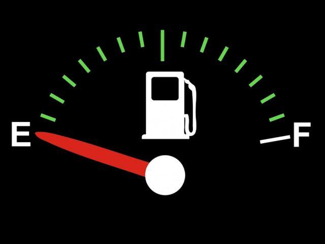 Empty petrol fuel tank gauge petrol shortage