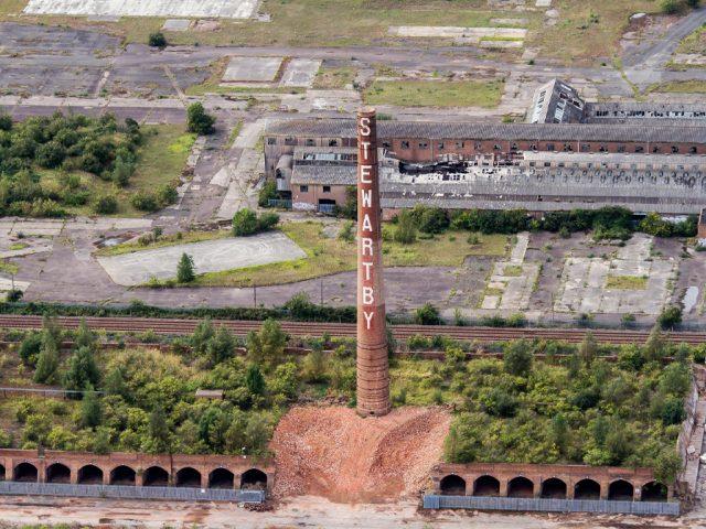 Stewartby Brickworks single chimney Image Anthony Crowe Altitude pics